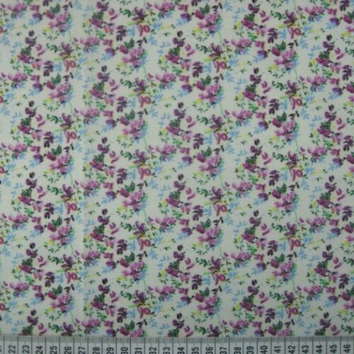 Polycotton Fabric Purple Paramour Ditsy Floral Flowers Leaves