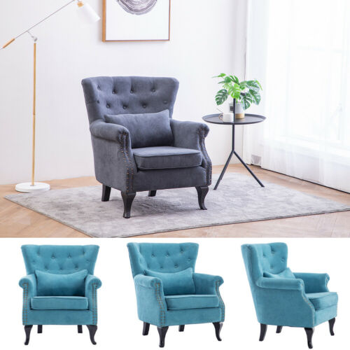 Wingback Armchair Fireside Queen Anne Single Sofa Chair Living Room UK Grey,Blue