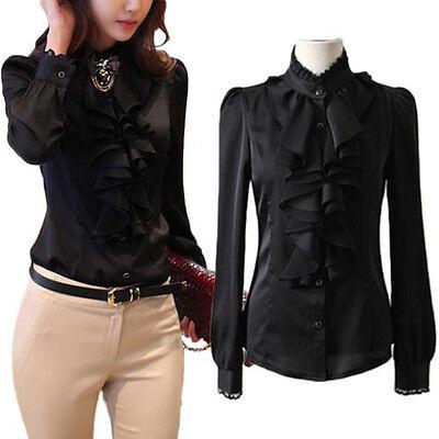 Womens Long Sleeve Lace Collar Ruffle Chiffon Slim OL Shirt Top Blouse Black L