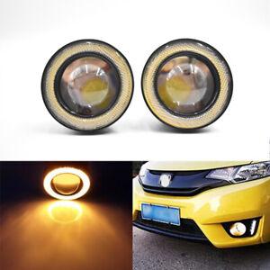 "2x 3/"" Fog Light Headlight Lamp w// White Halo Angel Eyes Projector Bumper Driving"