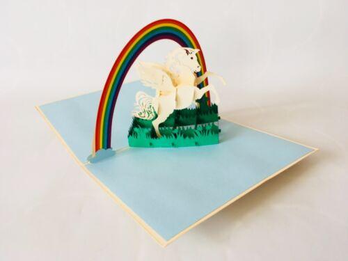 Glückwunschkarte 3D-Klappkarten Grußkarte, Pop-up Karten Einhorn