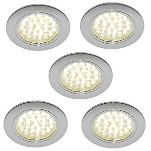 5 x 12v led recessed light campervan caravan motorhome light chrome
