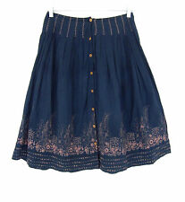 Anthropologie Project Alabama Boho Blue Embroidered Full Skirt S Floral EUC
