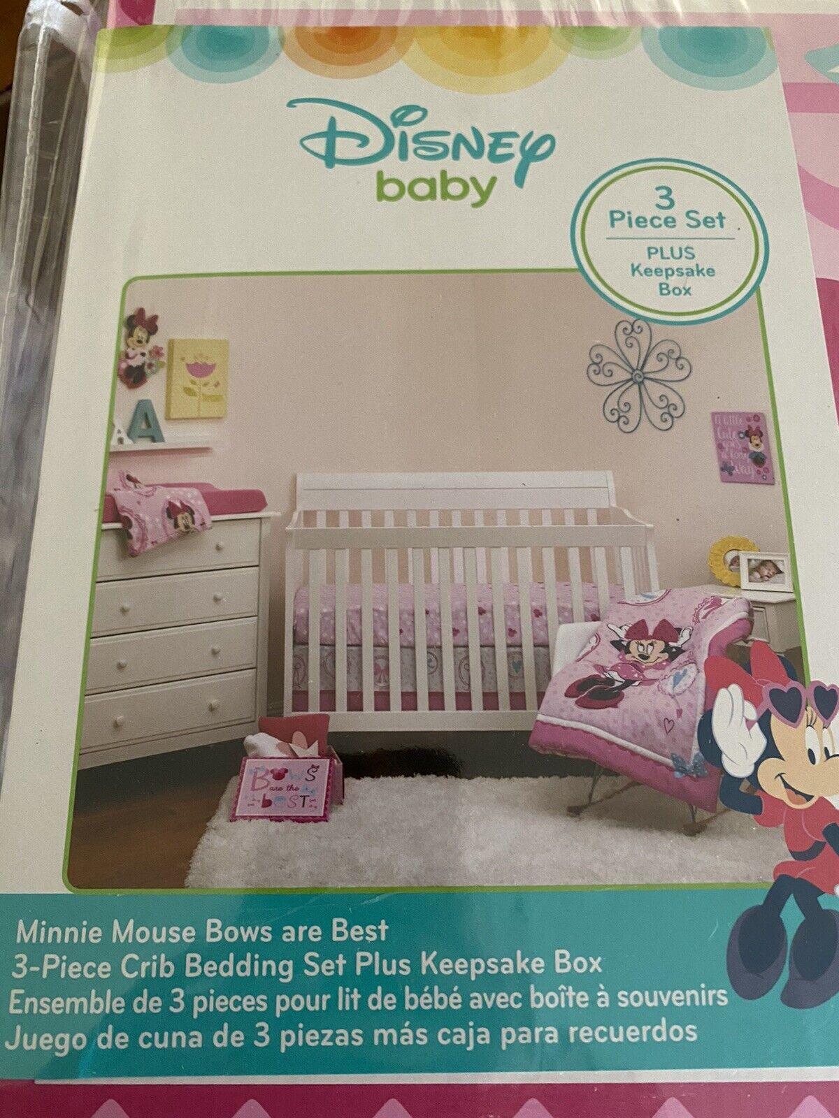 Disney Minnie Mouse 3 Pc Bows Are Best Crib Bedding Set Keepsake Storage Box For Sale Online