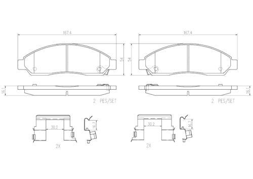For Isuzu i-280 i-290 Chevrolet Colorado GMC Canyon Front Disc Brake Pads Brembo