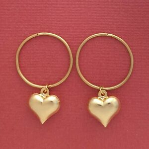 Gold-Plated-Sterling-Silver-Sleepers-Heart-Earrings-20mm-Hinged-love-hoops-New