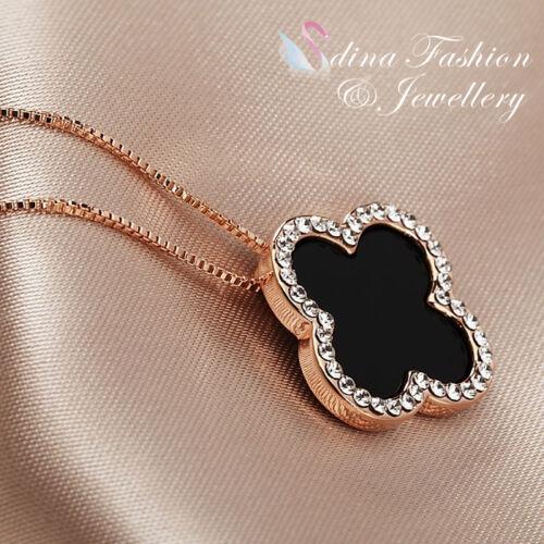 18K Rose Gold GP Simulated Agate /& Diamond Stylish Black 4 Leaf Clover Necklace