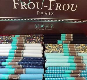 Frou-Frou-Paris-Pre-Cut-Fat-quarter-100-Cotton-Soft-Fine-Fabric-BLUES