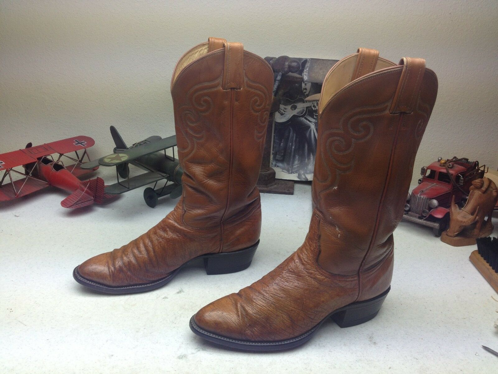 DISTRESSED TONY LAMA BROWN OSTRICH LEATHER ENGINEER WESTERN TRAIL BOSS BOOTS 9D