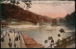 CHESTER WV Rock Springs Park Boat House Lake Dock Antique Postcard Old Vtg