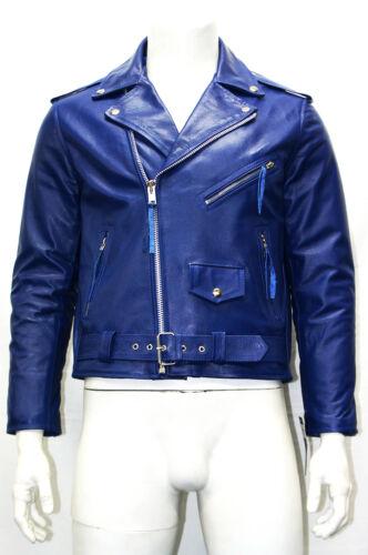 Mens Gents Blue Classic Biker Cowboy Brando Style Real Cowhide Leather Jacket