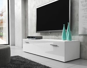 Meuble-TV-Armoire-Bas-Boston-150-cm-Corps-Blanc-Mat-Avant-Blanc-Brillant