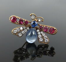Vintage 0.70ct Diamond 0.80ct Mogok Ruby & 3.50ct Natural Sapphire 14K Fly Pin