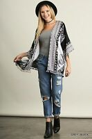 Cowgirl Kimono Cardigan Fringe Feather Print Western Boho Gypsy S/m