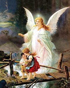8x10 Art Print c19th Victorian Children Crossing Bridge Protected Guardian Angel