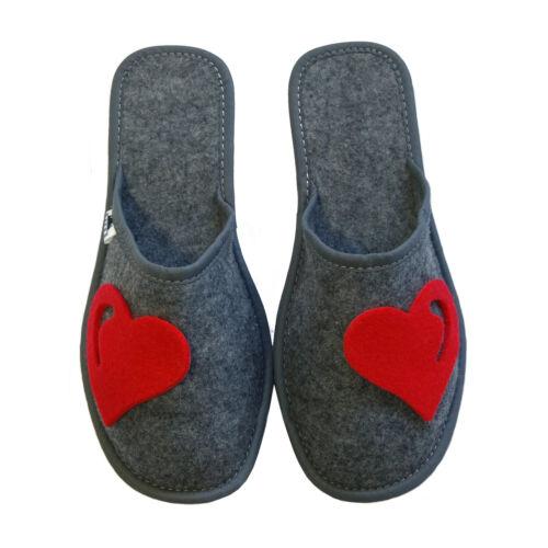 Femmes premium coeur rouge gris léger mule pantoufles taille 3 4 5 6 7 8