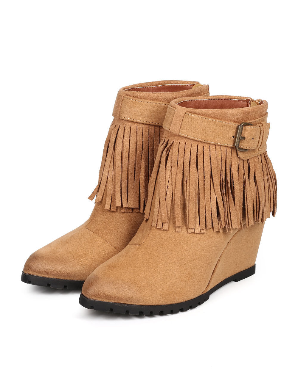 New Women Qupid Tustin-02 Suede Buckle Fringe Wedge Ankle Bootie Size