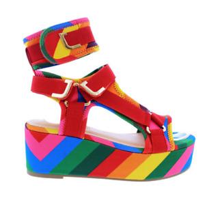 Liliana BARISTA-3 Rainbow Neoprene Elastic Strappy Open Toe Wedge Platform Heel