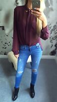 TOPSHOP SHIRT BLOUSE BURGUNDY SHEER CHIFFON LONG SLEEVE GOLD METAL SIZE 12 40