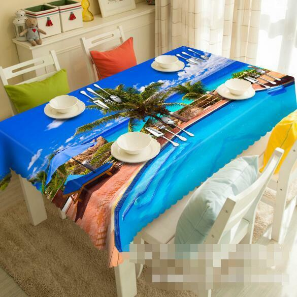 3D Seaside Pool 6 Tablecloth Table Cover Cloth Birthday Party Event AJ WALLPAPER