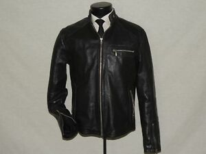 Pimentel-David-men-039-s-Black-leather-biker-jacket-size-LARGE