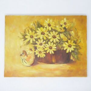 ORIGINAL-SIGNED-OIL-ACRYLIC-PAINTING-STILL-LIFE-FLORAL-FLOWERS-DUCK-12-034-x-16-034