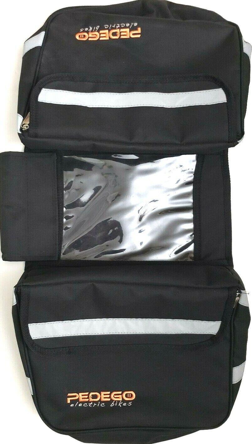 PEDEGO ELECTRIC BIKE PANNIER BAG schwarz TRI-FOLD TWO LARGE POCKETS REFLECTIVE