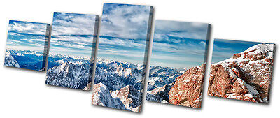 Landscapes Snowy Mountain Germany  MULTI CANVAS WALL ART Picture Print VA