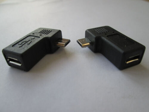 PAIR 90degree B left right angle micro USB male to micro female connector adapte