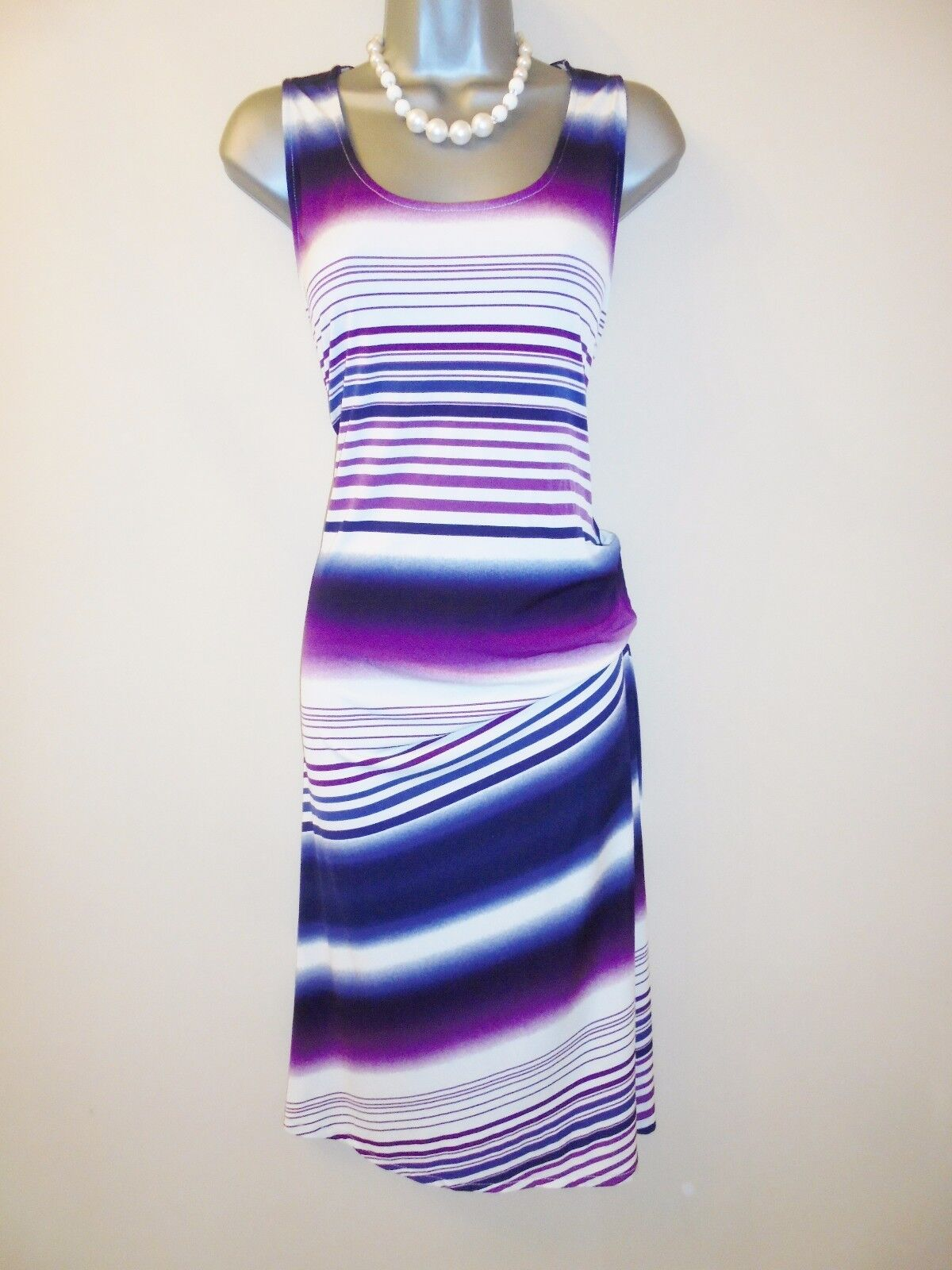 Stunning Mary Portas Stripe Print Stretchy Evening Occasion Day Dress Size 12