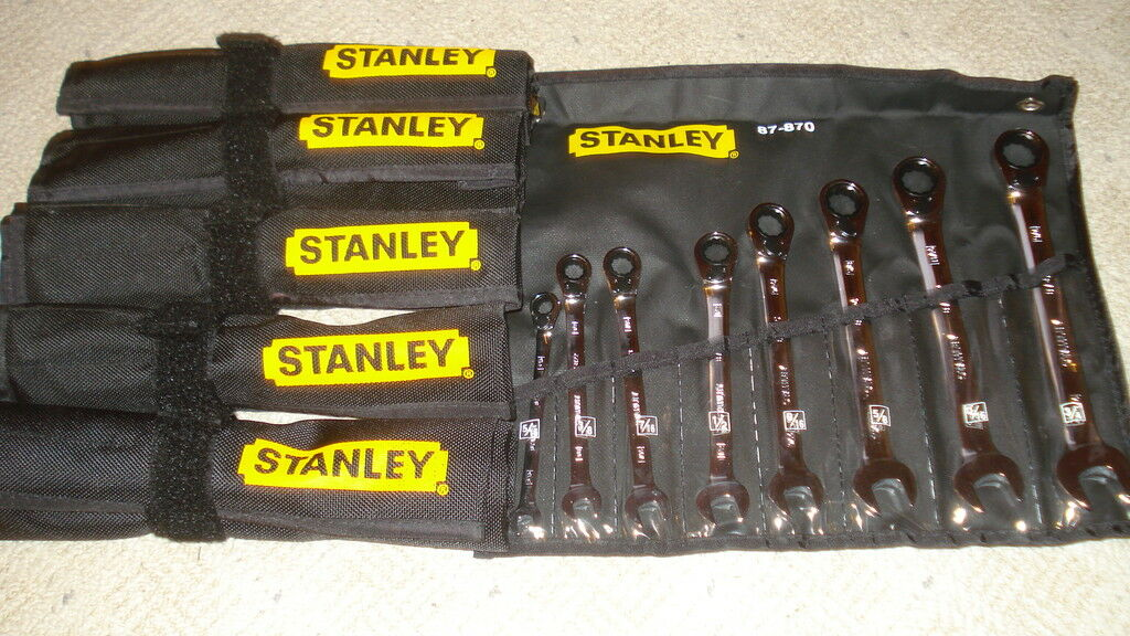 6 SETS STANLEY 8 PC SAE REVERSE GEAR RATCHET WRENCH