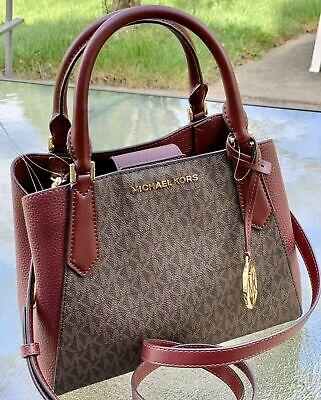 Michael Kors Kimberly Merlot Brown MK Signature Small Satchel Tote Shoulder Bag | eBay