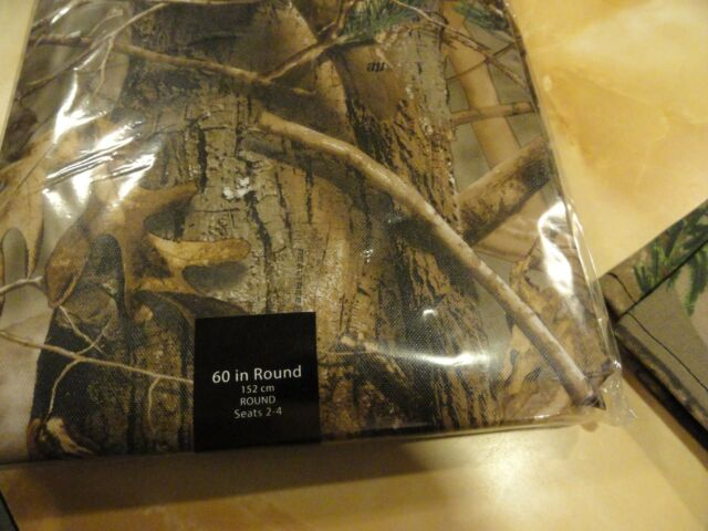 Flannel Back Indoor Outdoor Picnic Table 52 x 90 Realtree AP Camo Tablecloth