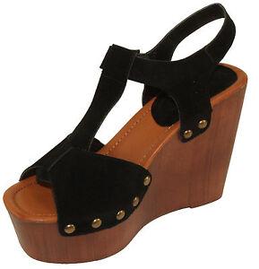 9fbfc75a8bb Details about betani Women's Maden-5 Peep-toe Faux Suede T-Strap Clog Wedge  Platform Sandals
