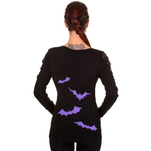 Friction Bats Lila Spitze Schnürung Banned Gothic Goth Punk Pullover Sweater