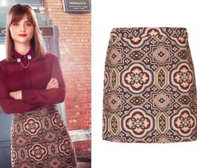 Topshop Retro Tapestry Aztec Folk Vtg 70s British Sci-fi SA Cosplay Skirt 8 4 36