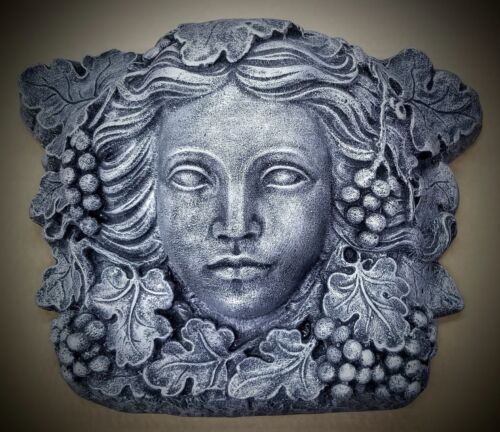 "17/"" Vintage Green Man Woman Wall Plaque Greek Art Tree Goddess"
