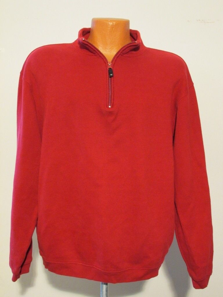 S7915 Woolrich Men's Large Red 1 2 Zip Casual Shirt