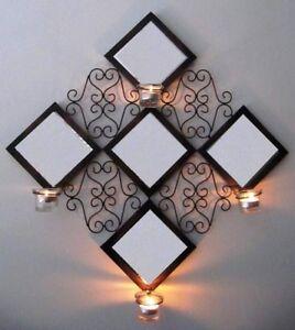 Wanddeko Spiegel wanddeko spiegel kerzenhalter dekoration metall glas 50813