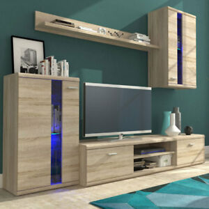 Led Schrankwand Beleuchtung | Modern Wohnwand Lenny Schrankwand Anbauwand Wohnzimmer Komplett