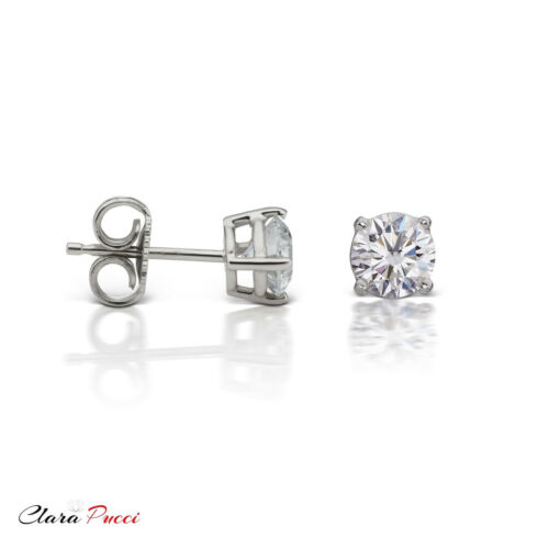 1.5 CT Round Cut Simulated Diamond White Sterling Solitaire Stud Earrings P-Back