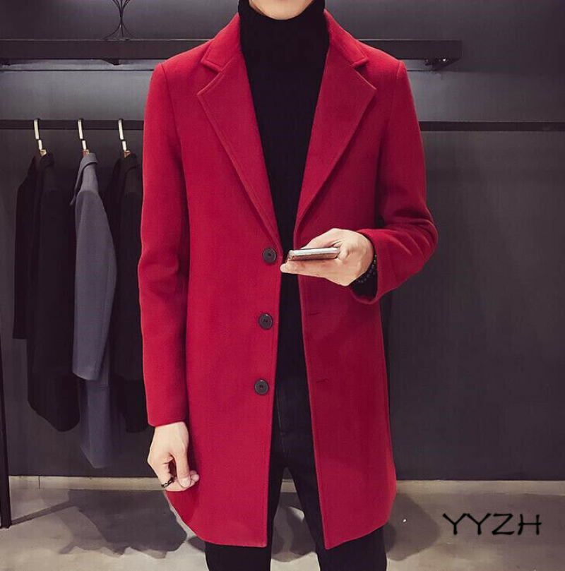 Details about Mens Lapel Plaid Trench Coat Belt One Button Wool Blend Slim Fit Long Jackets
