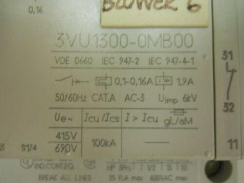 SIEMENS STARTER MOTOR PROTECTOR 3VU1300-0MB00 3VU9131-3AA00