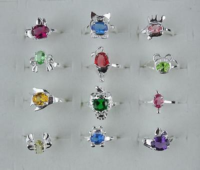 wholesale 10pcs 925 Sterling silver kid's animal CZ Rings 4-6 FN