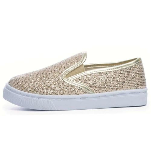 New Girls Glitter Slip On Star Pumps Skate Style Plimsolls Trainers Shoes Size