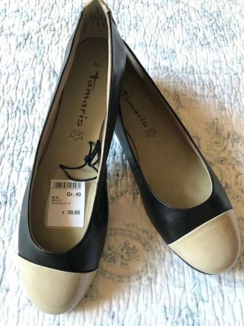 Tamaris * elegante Ballerinas * Gr. 40 * Ballerina schwarz taupe * Leder * NEU