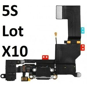 Lot of 10 Black Headphone Audio Charging Data USB Dock Port Flex Cable iPhone 5S
