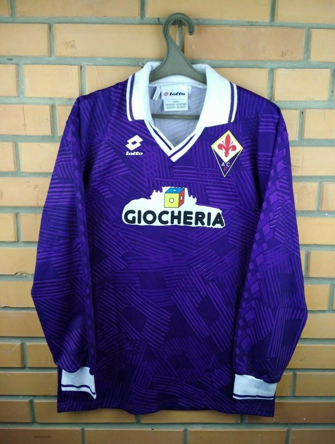 Fiorentina Jersey Grande 1991 1992 jugador cuestión Camisa Mangas Largas Fútbol Lotto