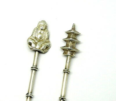 2 Asian hors d'oeuvres Chinese BUDDHA & TEMPLE Sterling Silver Olive Chese Forks