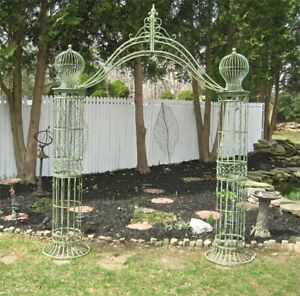 Garden-Trellis-Arch-9-039-Tall-Wrought-Iron-Antique-Mint-Green-Finish
